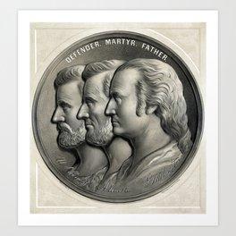 Defender, Martyr, Father -- Grant, Lincoln, And Washington Art Print