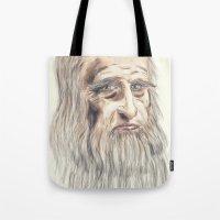 da vinci Tote Bags featuring Leonardo da Vinci Colorful by André Minored