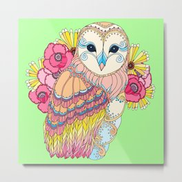 Barn Owl & Flowers Metal Print