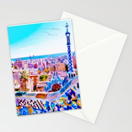 Park Guell Watercolor painting Stationery Cards
