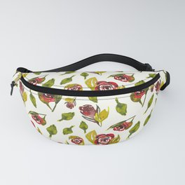 Aqurelle red and green roses pattern design Fanny Pack
