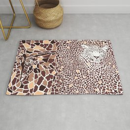 Abstract texture of giraffe and leopard Rug