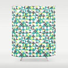 scribble triangles Shower Curtain