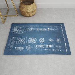 Soyuz Blueprint in High Resolution (light blue) Rug