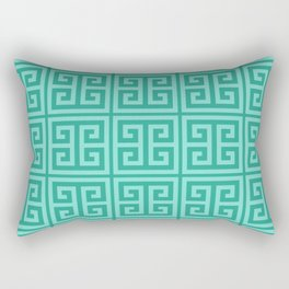 Mermaid Blue Greek Key Pattern Rectangular Pillow