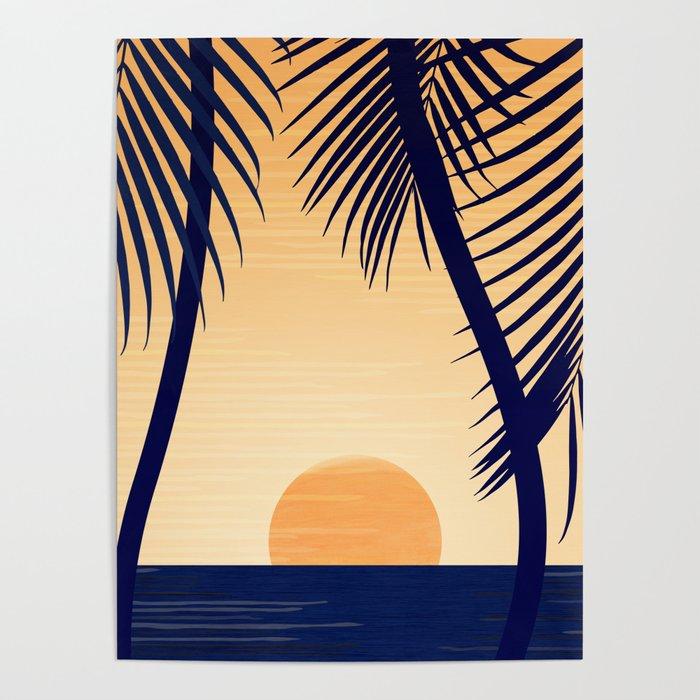 Retro Golden Sunset - Tropical Scene Poster