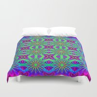psychedelic art Duvet Covers featuring PSYCHEDELIC flowers by 2sweet4words Designs