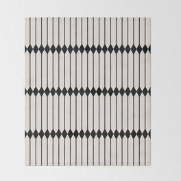 Minimal Geometric Pattern - Black Throw Blanket