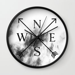 Foggy Forest Compass Wall Clock
