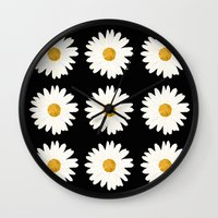 daisy Wall Clocks featuring Daisy by nessieness