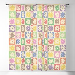 Colorful Flower Checkered Pattern Blackout Curtain