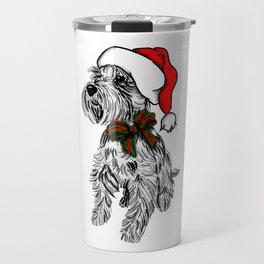 Christmas Schnauzer Sketch Travel Mug