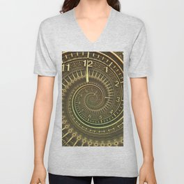 Bronze Metallic Ornate Spiral Time Machine Unisex V-Neck