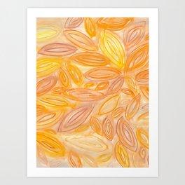 Bright Orange Leaves original watercolor Art Print
