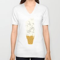 ice V-neck T-shirts featuring Cats Ice Cream by I Love Doodle