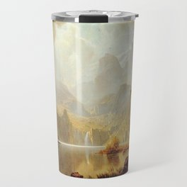 In The Mountains 1867 By Albert Bierstadt   Reproduction Painting Travel Mug