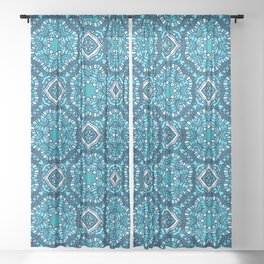Moroccan Tile Pattern - Turquoise Sheer Curtain