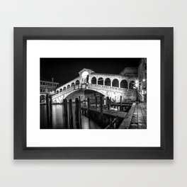 VENICE Rialto Bridge at Night | Monochrome Framed Art Print