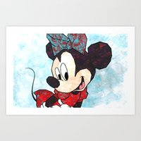 minnie mouse Art Prints featuring Minnie Mouse Fan Art by DanielleArt&Design