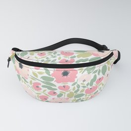 Pink Anemone Floral Pattern Fanny Pack