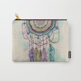 Modern tribal hand paint dreamcatcher mandala design Carry-All Pouch