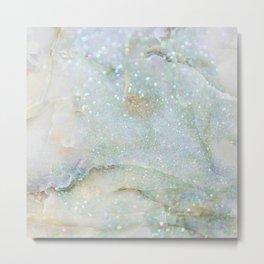 Elegant Aqua Marble with Flecks of Diamond Glitter Metal Print