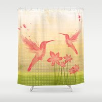 hummingbird Shower Curtains featuring Hummingbird by Kakel