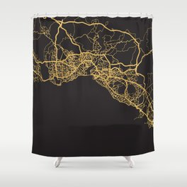 ISTANBUL TURKEY GOLD ON BLACK CITY MAP Shower Curtain