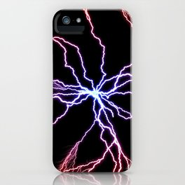 Electrical Lightning Discharge Blue to Red iPhone Case