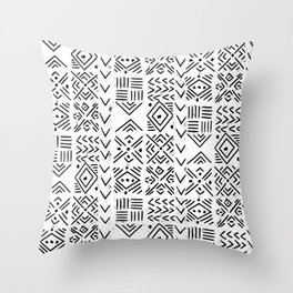 Mudcloth 2 black and white linocut stamps pattern geometric minimal decor Throw Pillow