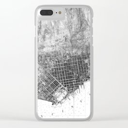 Vintage Map of San Francisco California (1858) BW Clear iPhone Case