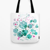 bees Tote Bags featuring Bees by rudziox