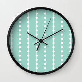Geometric Droplets Pattern Linked - Pastel Green and White Wall Clock