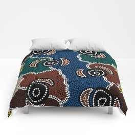 Authentic Aboriginal Art - Riverside Dreaming Comforters