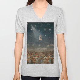 Illustration of  cute houses and  pretty girl   in night sky Unisex V-Neck