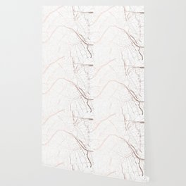 Paris France Minimal Street Map - Rose Gold Glitter Wallpaper