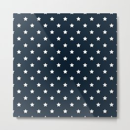 Dark Blue With White Stars Pattern Metal Print