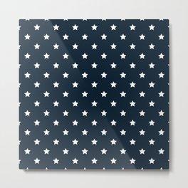 Dark Blue With White Stars Pattern Metal Print