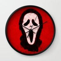 scream Wall Clocks featuring Scream by Bill Pyle