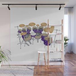 Purple Drum Kit Wall Mural