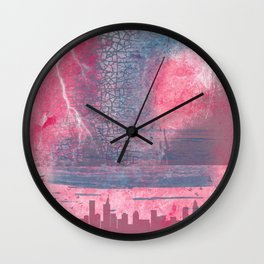 Town and the storm, pink, gray, blue Wall Clock