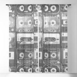 Something Nostalgic - black and white #decor #buyart #society6 Sheer Curtain