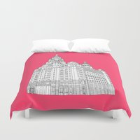 liverpool Duvet Covers featuring Liverpool Liver Building  by sarah illustration