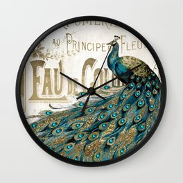 Peacock Jewels Wall Clock