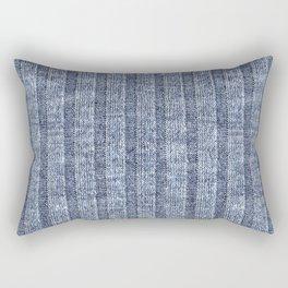 Denim Blue Jersey Knit Pattern Rectangular Pillow