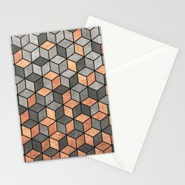 Concrete and Copper Cubes Stationery Cards