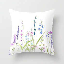 purple blue wild flowers watercolor painting Throw Pillow
