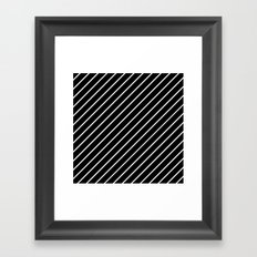 Hot 80s Style Diagonal Black and White Geometric Pattern Framed Art Print