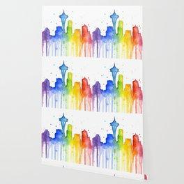 Seattle Skyline Rainbow Watercolor Wallpaper