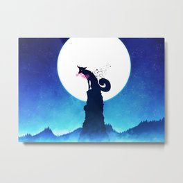 Fantasy Fox Fantasy Animals Animal Moon Night Metal Print